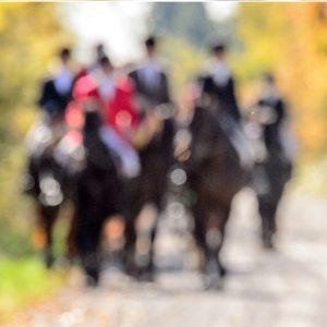 hunt riders blurred